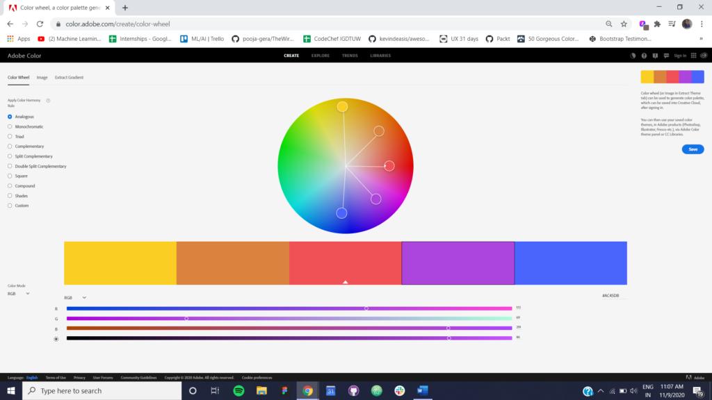 Figure 1 Analogous Color Scheme using Adobe Color CC