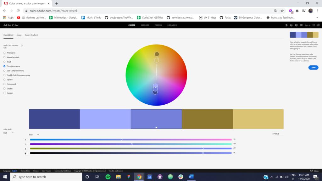Figure 3 Complementary Color Scheme using Adobe Color CC