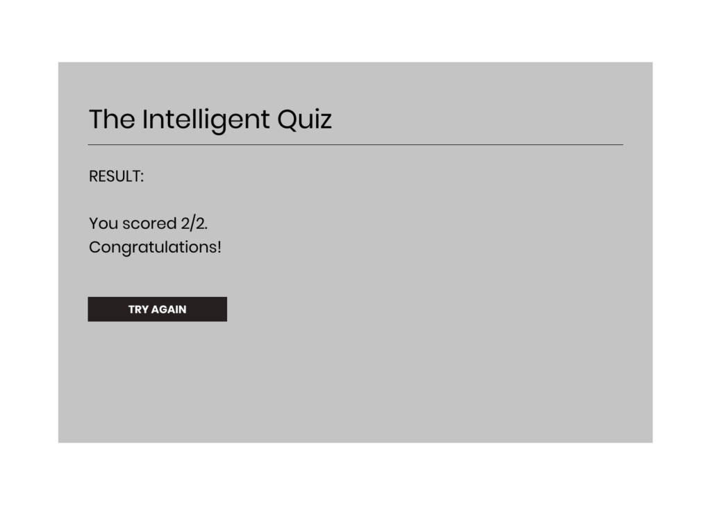 Figure 24 Wireframe - JavaScript Quiz Format 2 (Results)