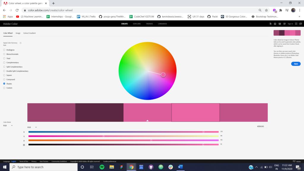Figure 4 Shades using Adobe Color CC